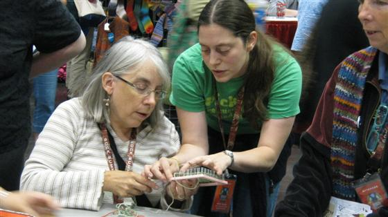 Karrie Weaver teaching weaving