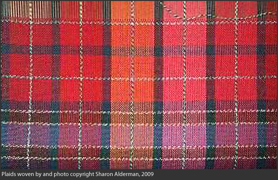 Plaids woven by and photo copyright Sharon Alderman, 2009