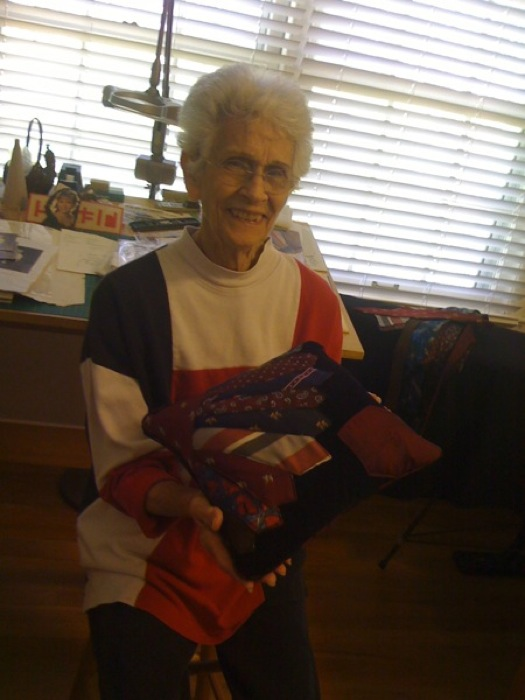 Granny Mann and her sewing project